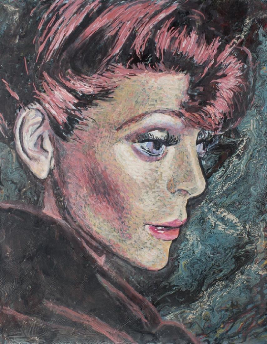E. Metzger Rockabilly Dame Portait Oil On Panel