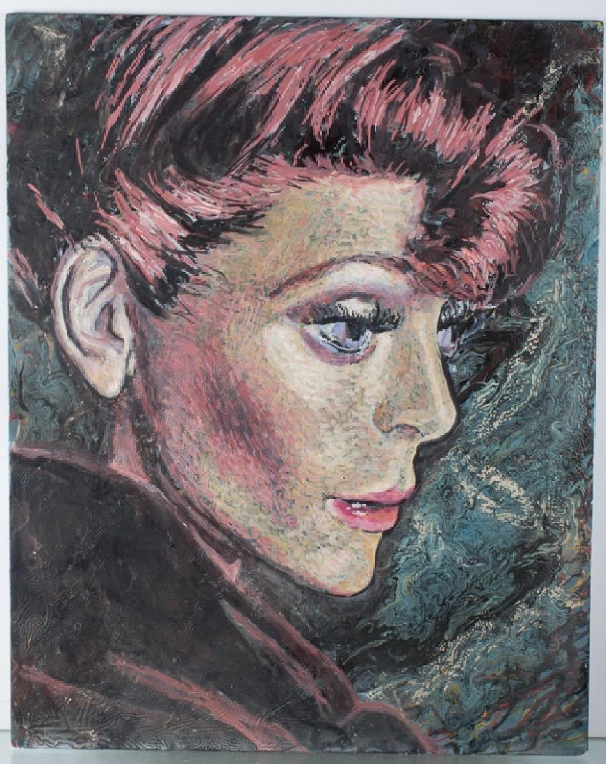 E. Metzger Rockabilly Dame Portait Oil On Panel - 2