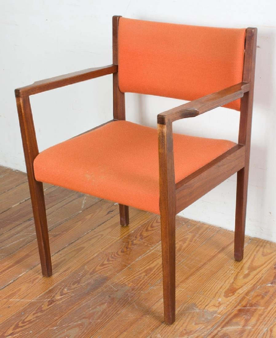 Jens Risom Teak Wood Orange Upholstered Armchair