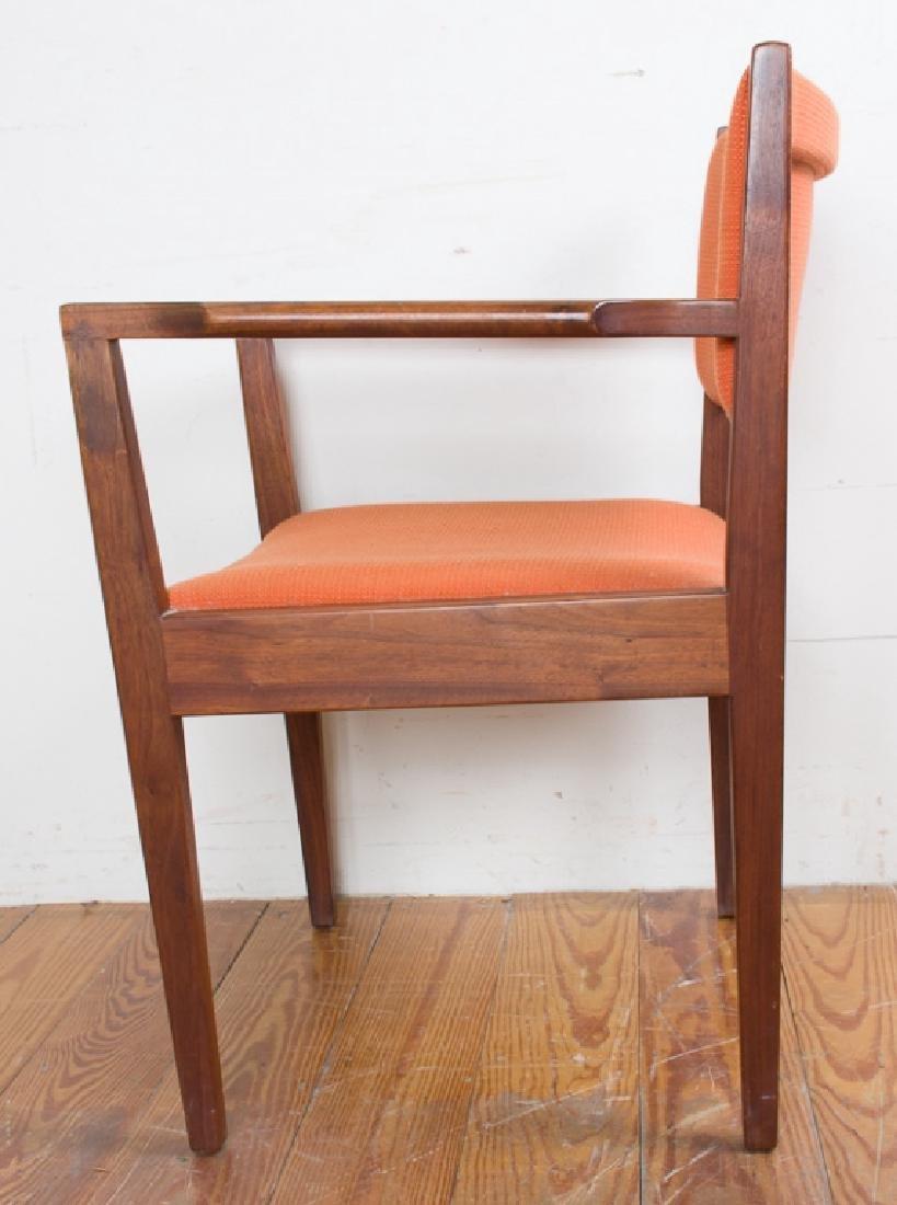 Jens Risom Teak Wood Orange Upholstered Armchair - 2