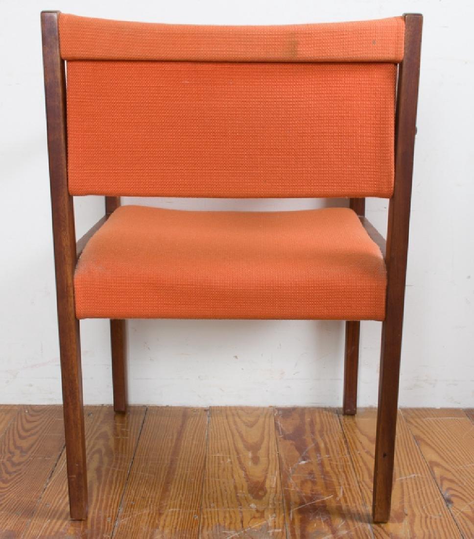 Jens Risom Teak Wood Orange Upholstered Armchair - 3