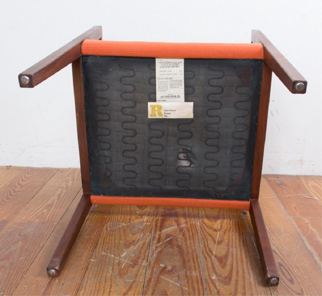 Jens Risom Teak Wood Orange Upholstered Armchair - 4