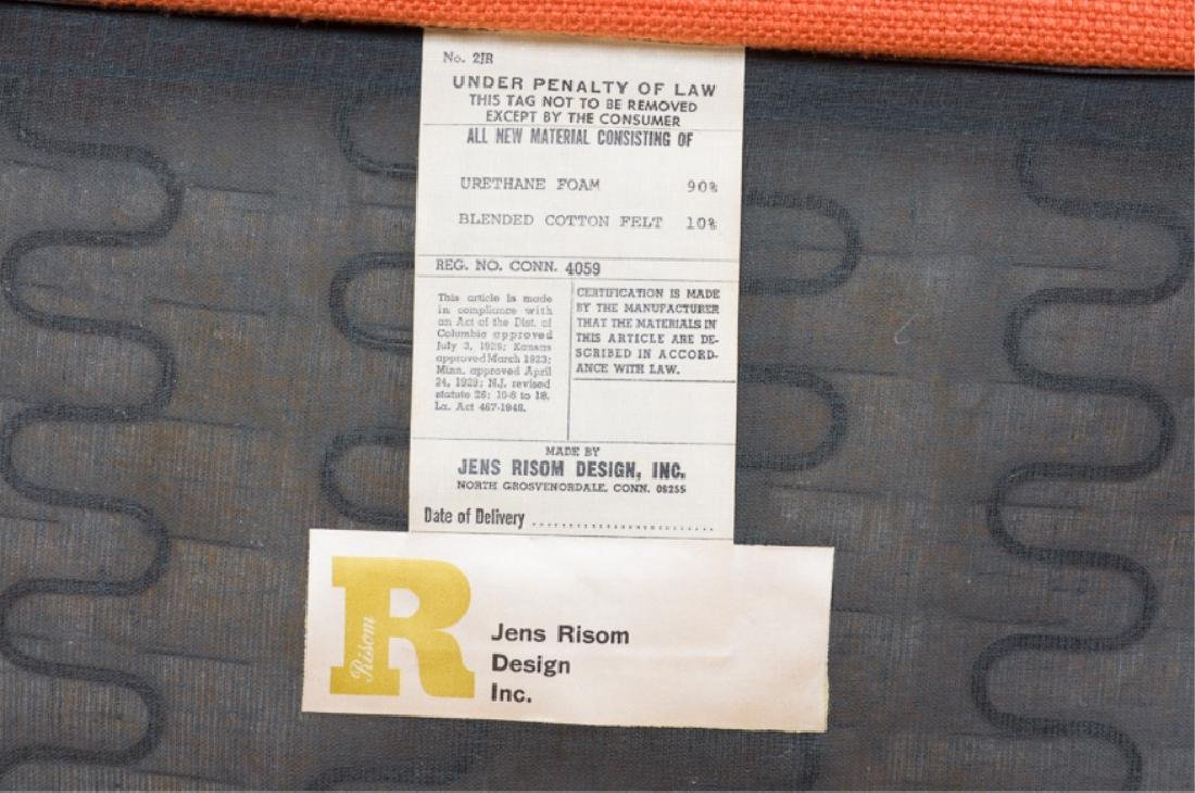 Jens Risom Teak Wood Orange Upholstered Armchair - 5