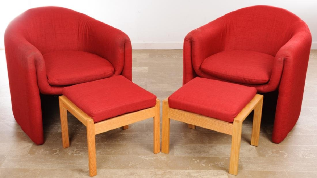Barrel Back Guest Chairs Pair w/ Footstools