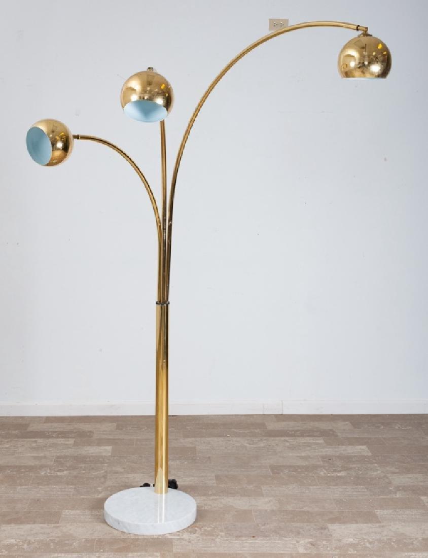 Brass Triple Arc Eyeball Floor Lamp