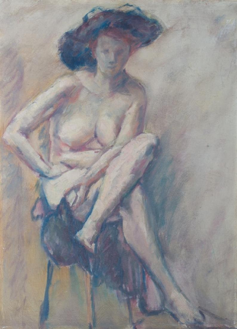 E. Metzger Nude Portrait Oil on Masonite, & Book