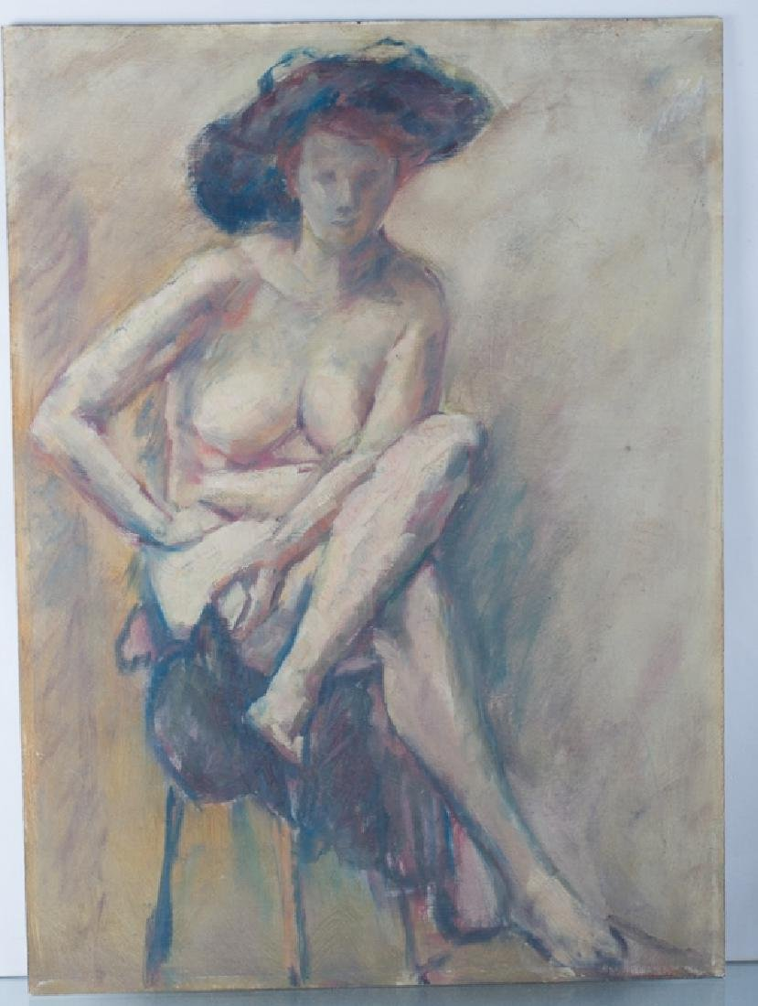 E. Metzger Nude Portrait Oil on Masonite, & Book - 2