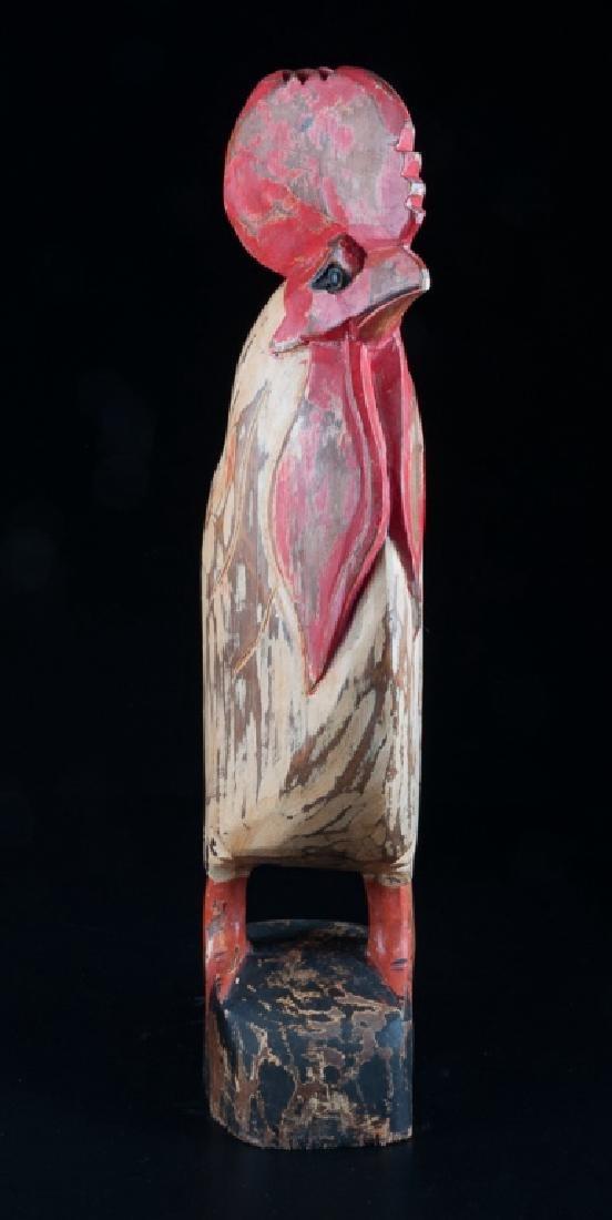 Folk Art Carved Wooden Rooster - 2