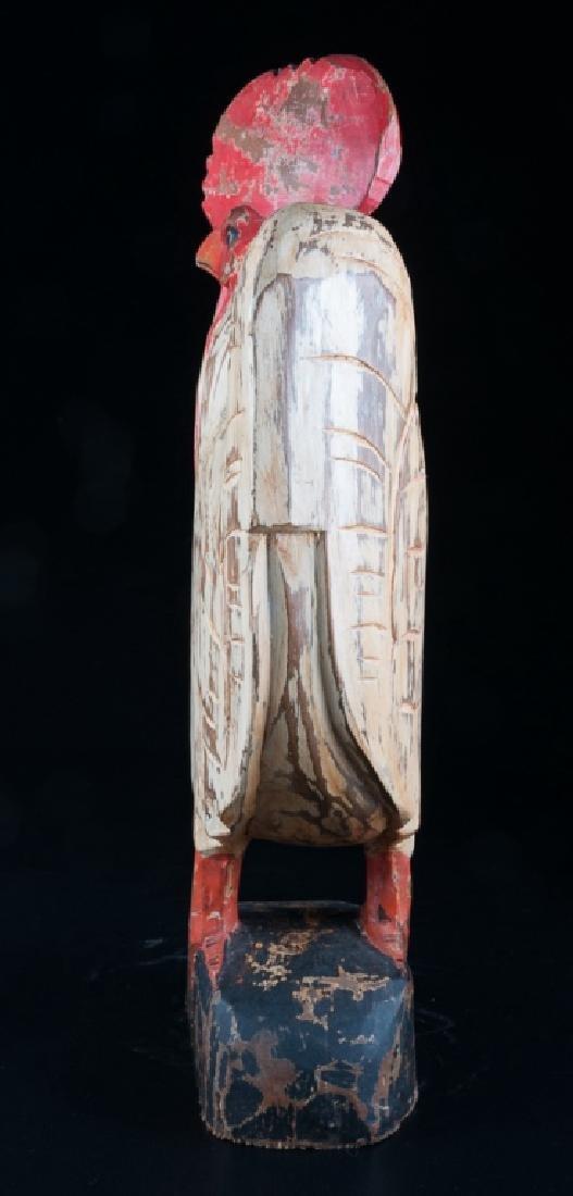 Folk Art Carved Wooden Rooster - 4