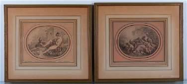 Gilles Demarteau Engravings Pair