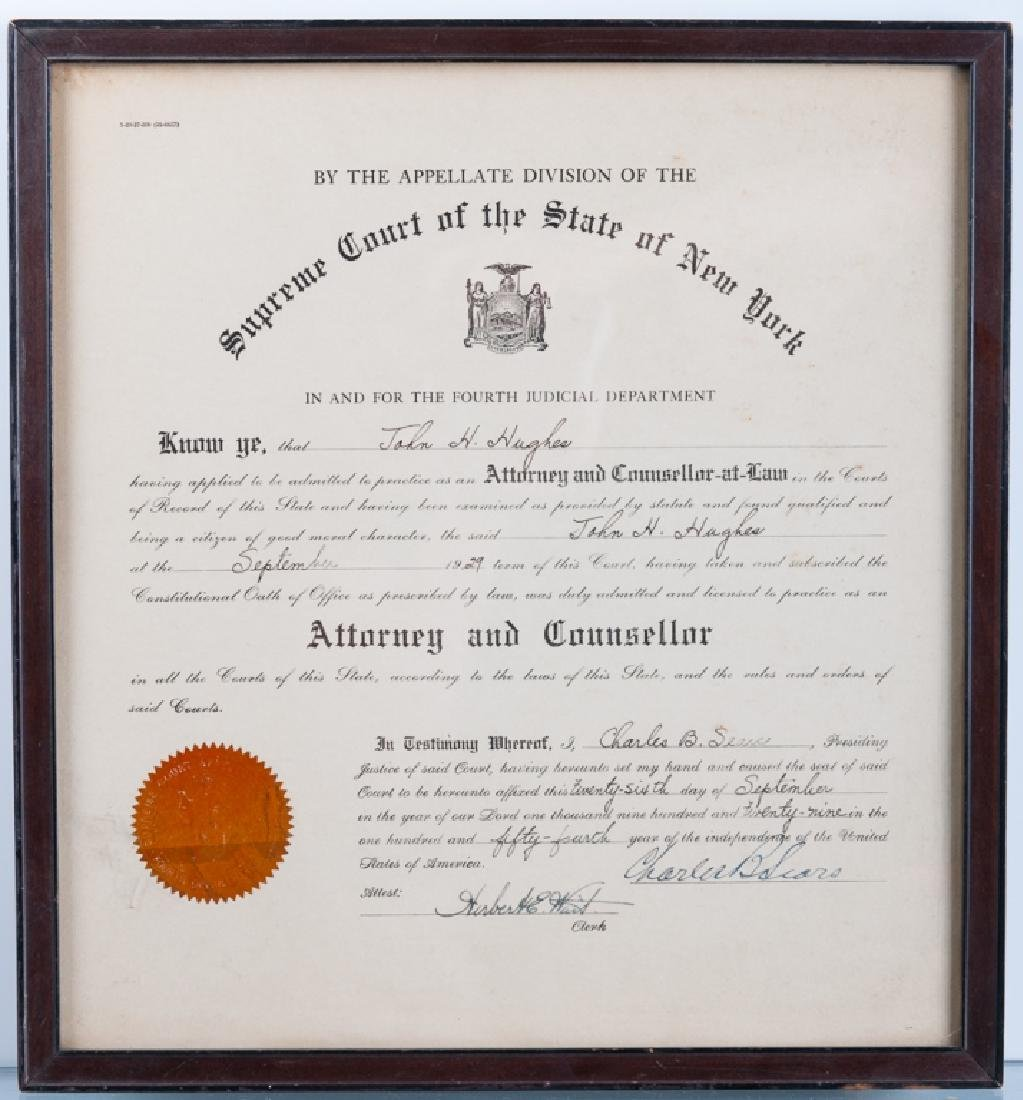 John H. Hughes Attorney License Circa 1929