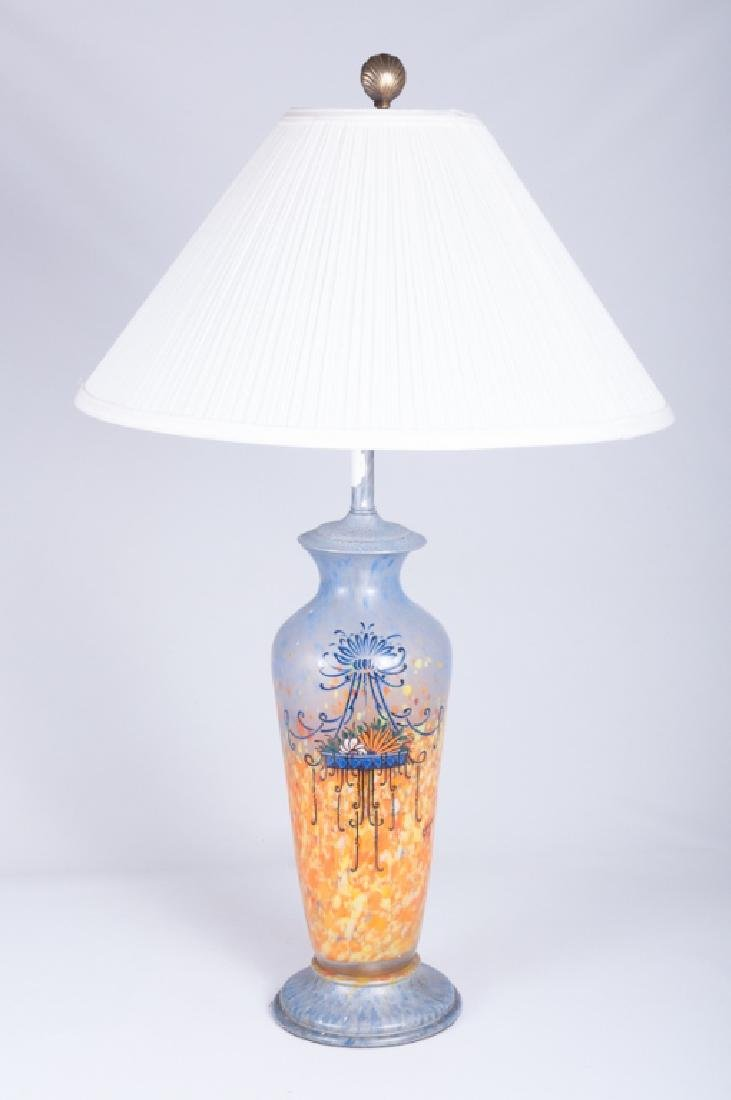 Legras Signed Art Deco Enameled Art Glass Lamp