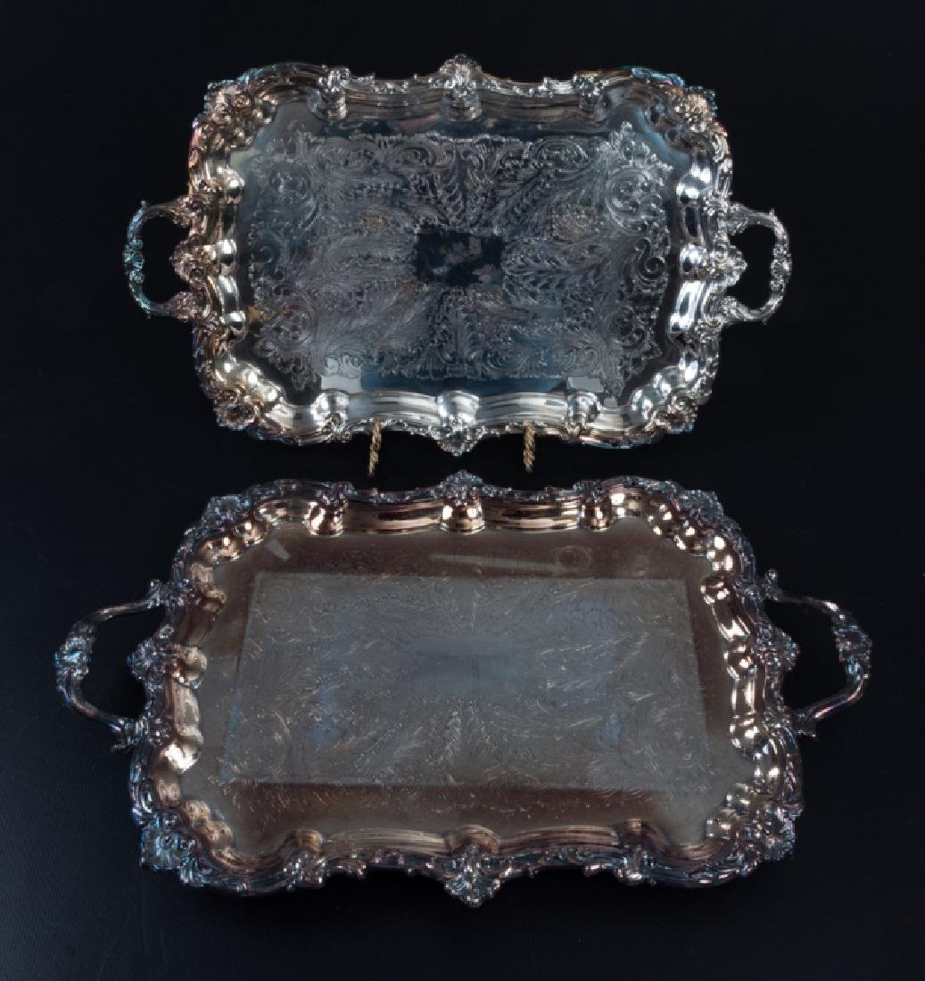 Silver Plated Serving Trays Pair
