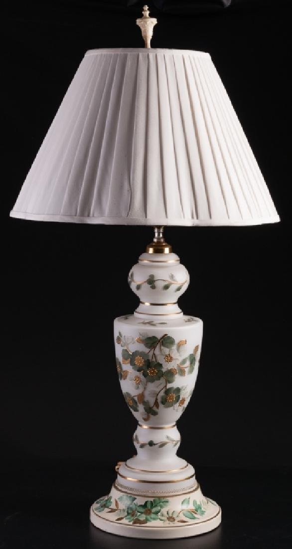 Toleware Based Painted Milk Glass Urn Style Lamp