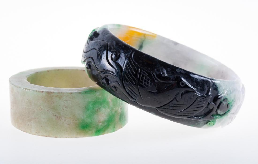 Jadeite Asian Carved Bracelet & Artifact Duo