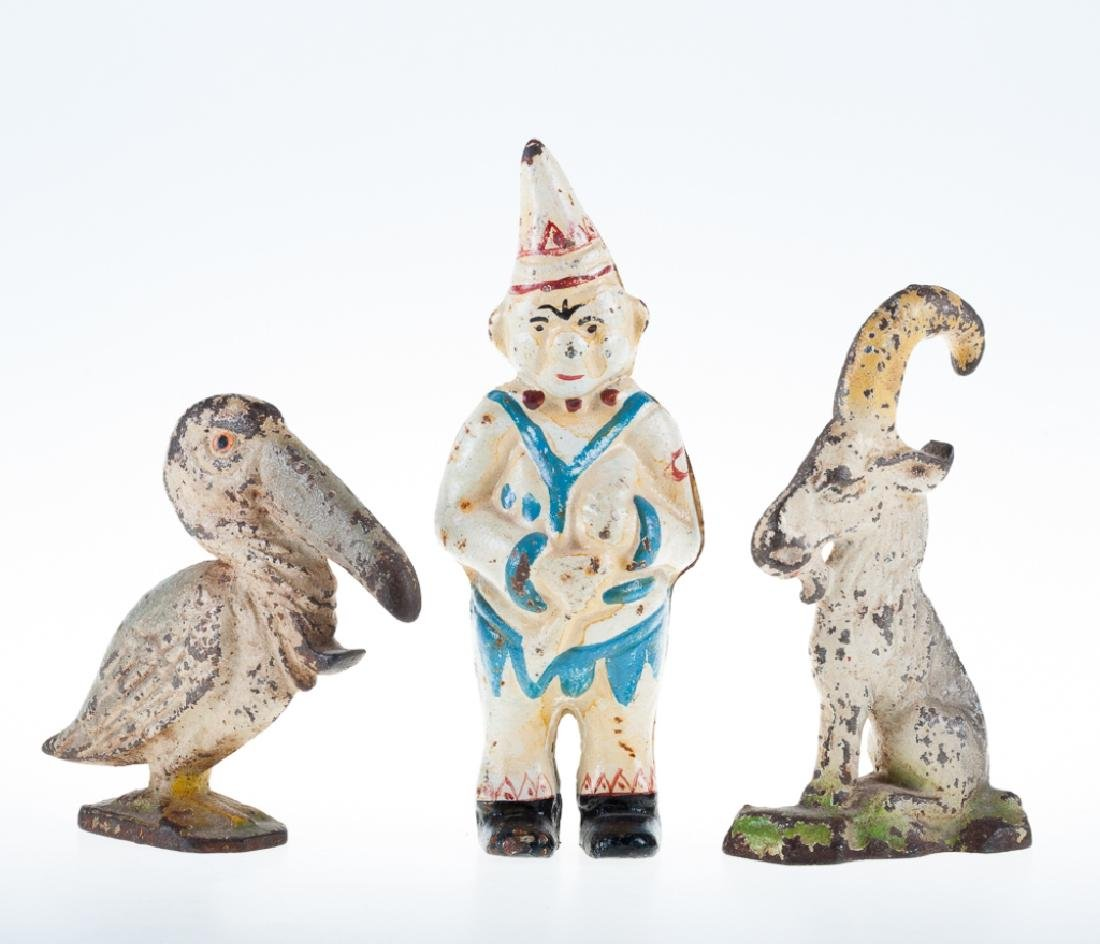 Antique Painted Cast Iron Toys Trio