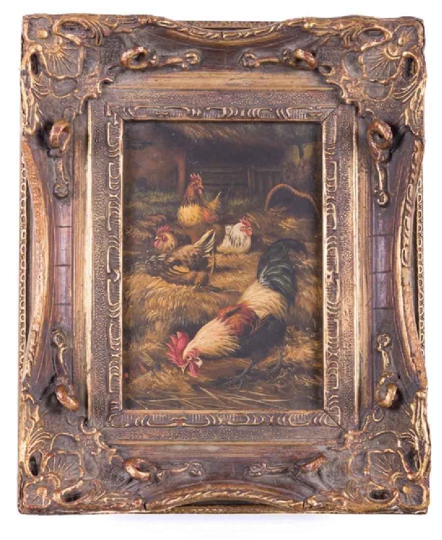 Edgar Hunt Rooster & Hens Barn Scene Oil on Tin