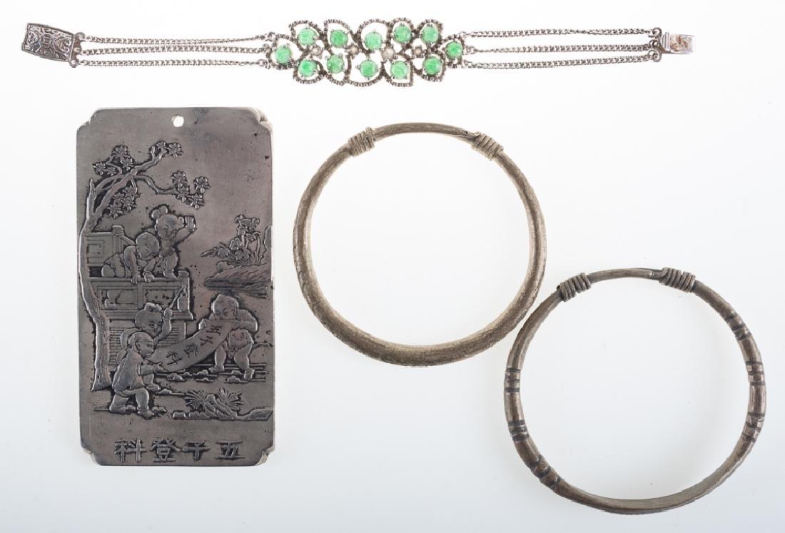 Asian Silver Alloy Money Plaque & Bracelet Trio