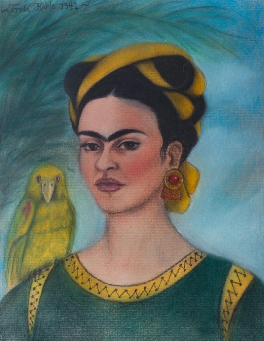 """Frida Kahlo """"Autorretrato con Loro"""" Pastel Drawing"""