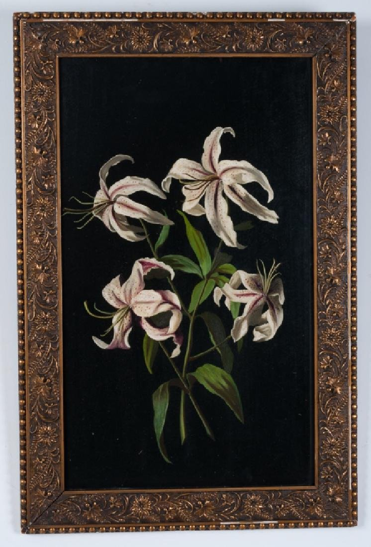 Martin Johnson Heade Style Lilies Oil on Slate