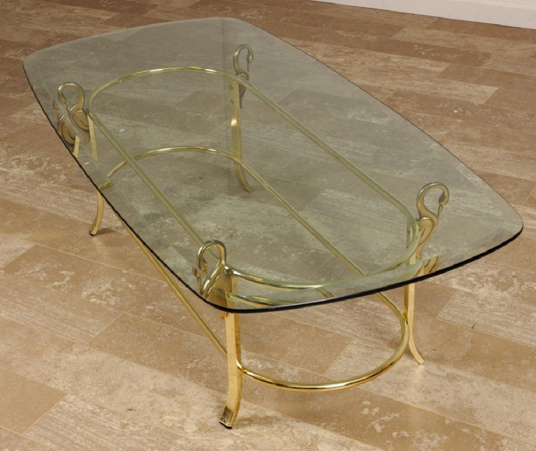 DIA Design Institute Brass Swan Glass Coffee Table