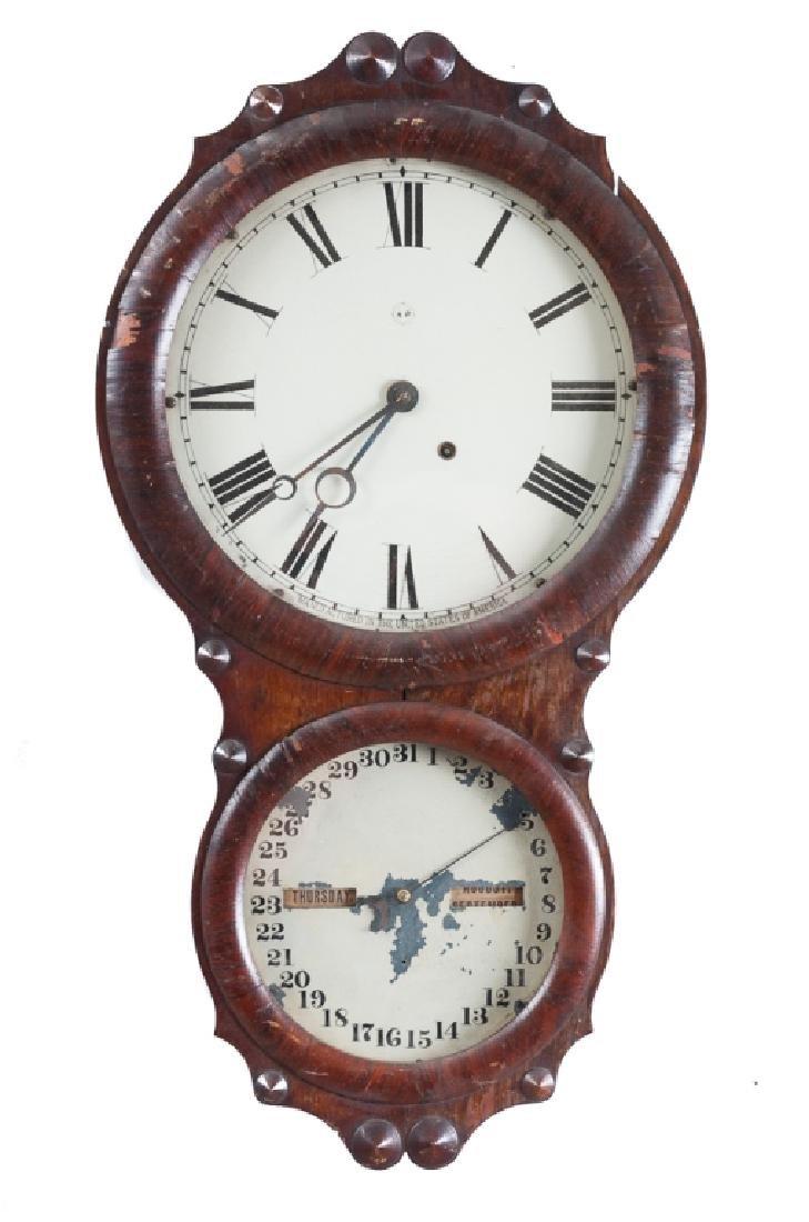 Seth Thomas Calendar Wall Clock, Mahogany