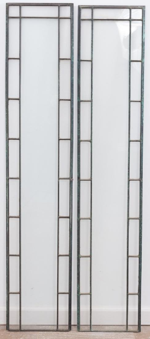 Leaded Glass Sidelights, Pair
