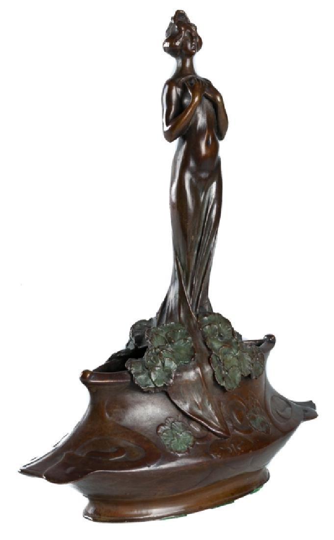 """Charles Korschann """"Art Nouveau Maiden"""" Bronze"""