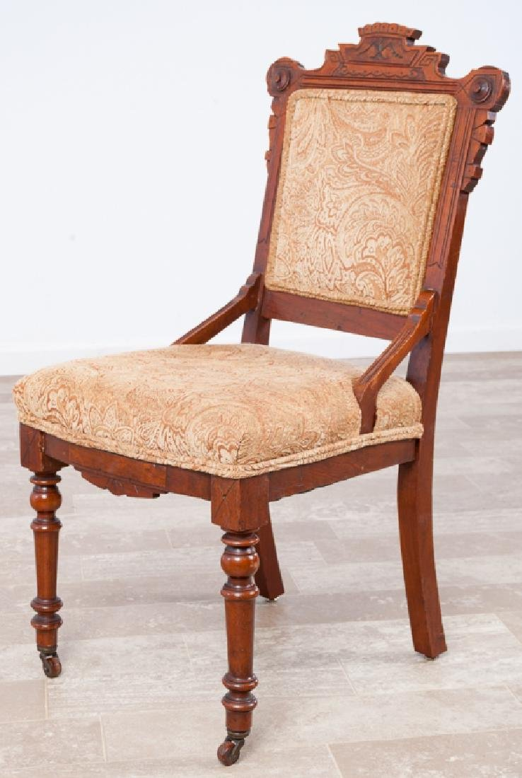Eastlake Carved Walnut Parlor Chair