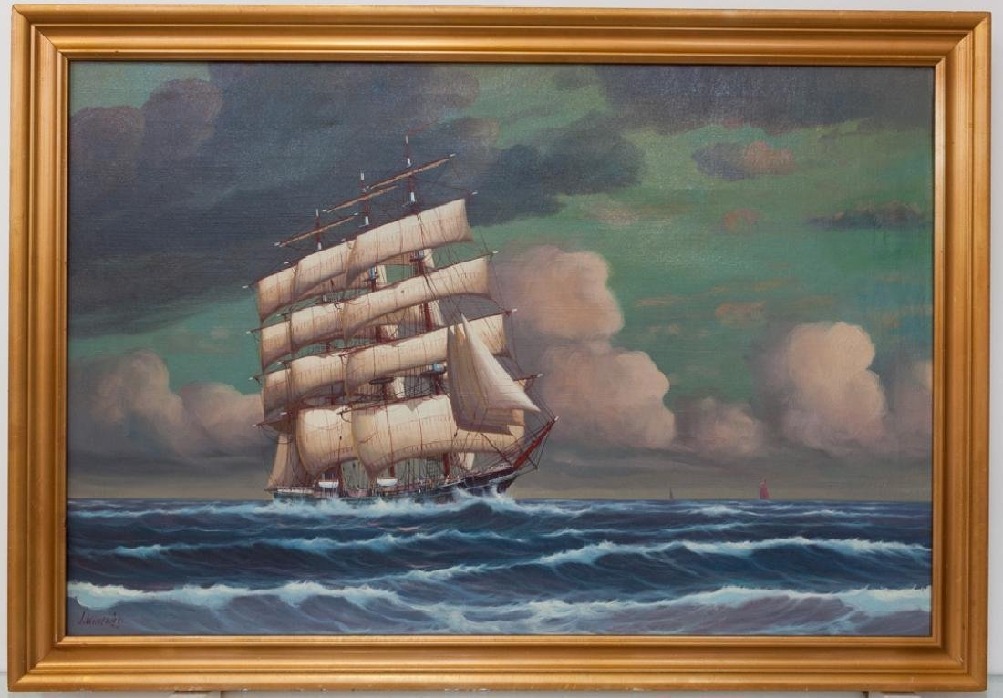 J. Winfried Oil on Canvas Ship Painting