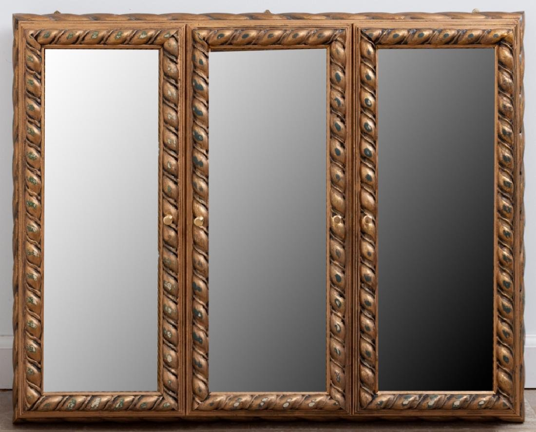 Horchow Gilt Wood Curio Wall Display Cabinet