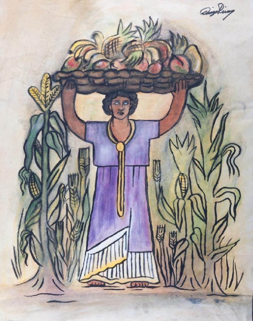 "Diego Rivera ""Vendedora de Fruta"" Watercolor"