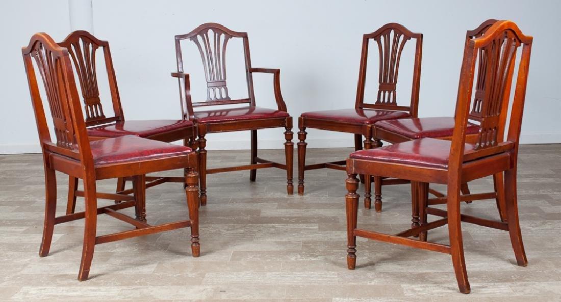 Hepplewhite Style Mahogany Dining Chairs, 6 P.