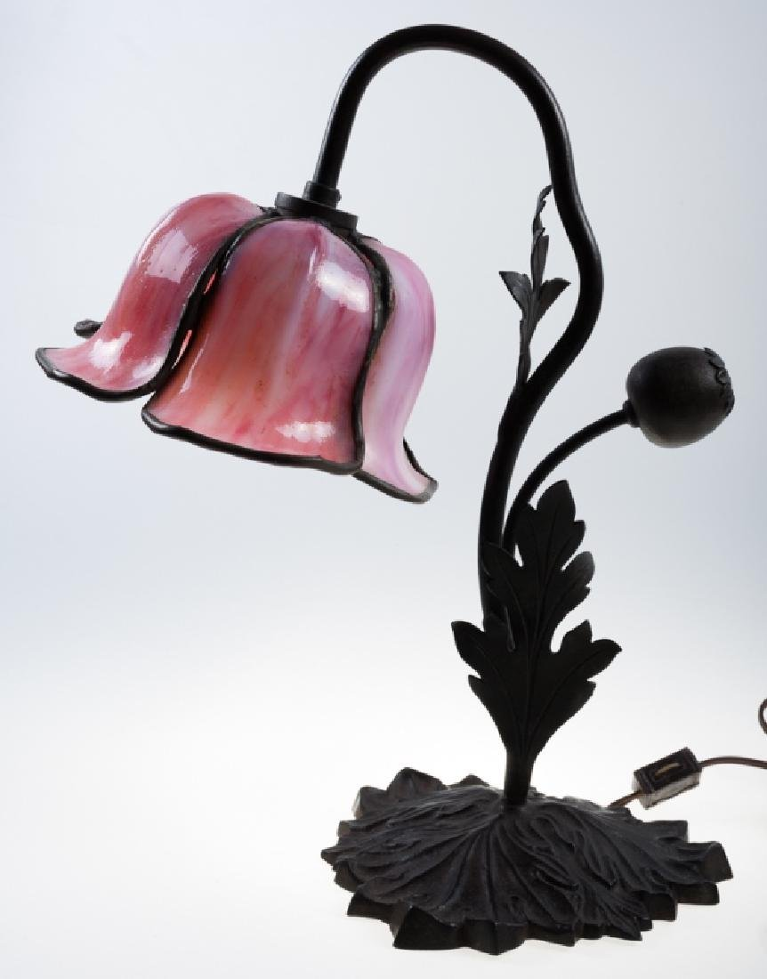 "Handel ""Pink Poppy"" Table Lamp, Signed"