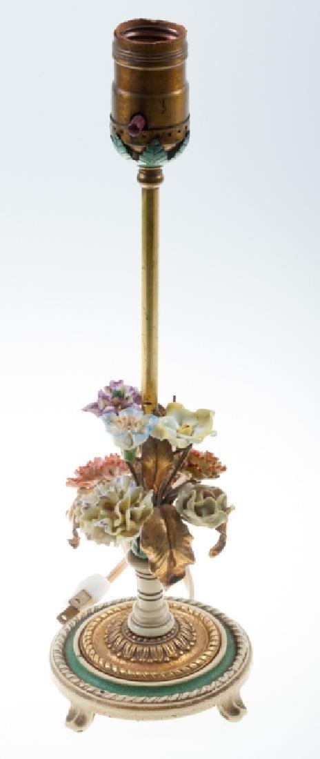 Metal & Porcelain Floral Boudoir Lamp