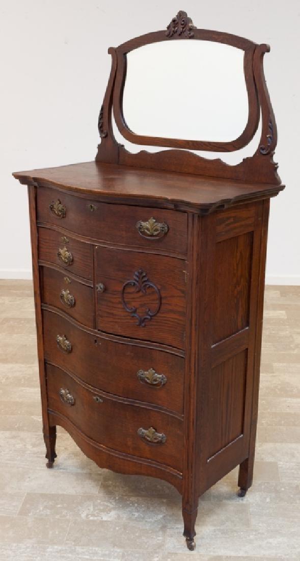Vintage Oak Tall Dresser with Mirror