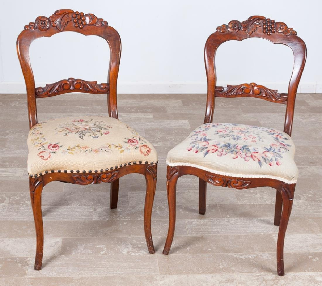 Walnut Rococo Revival Balloon Back Chairs Pair
