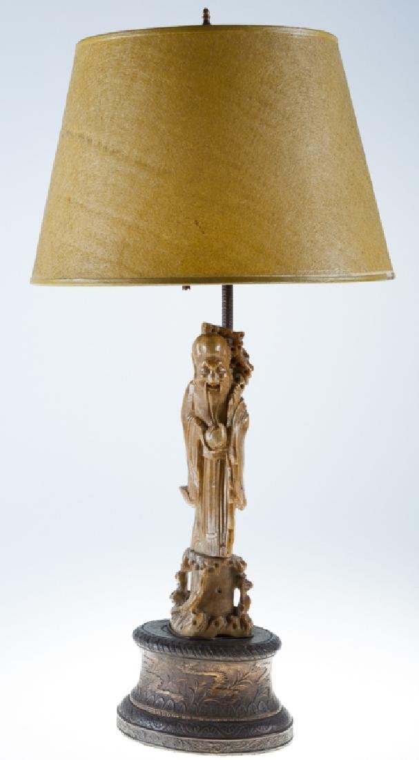 Carved Shou Lao Table Lamp