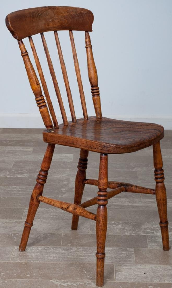 English Elmwood Windsor Style Chair, Signed