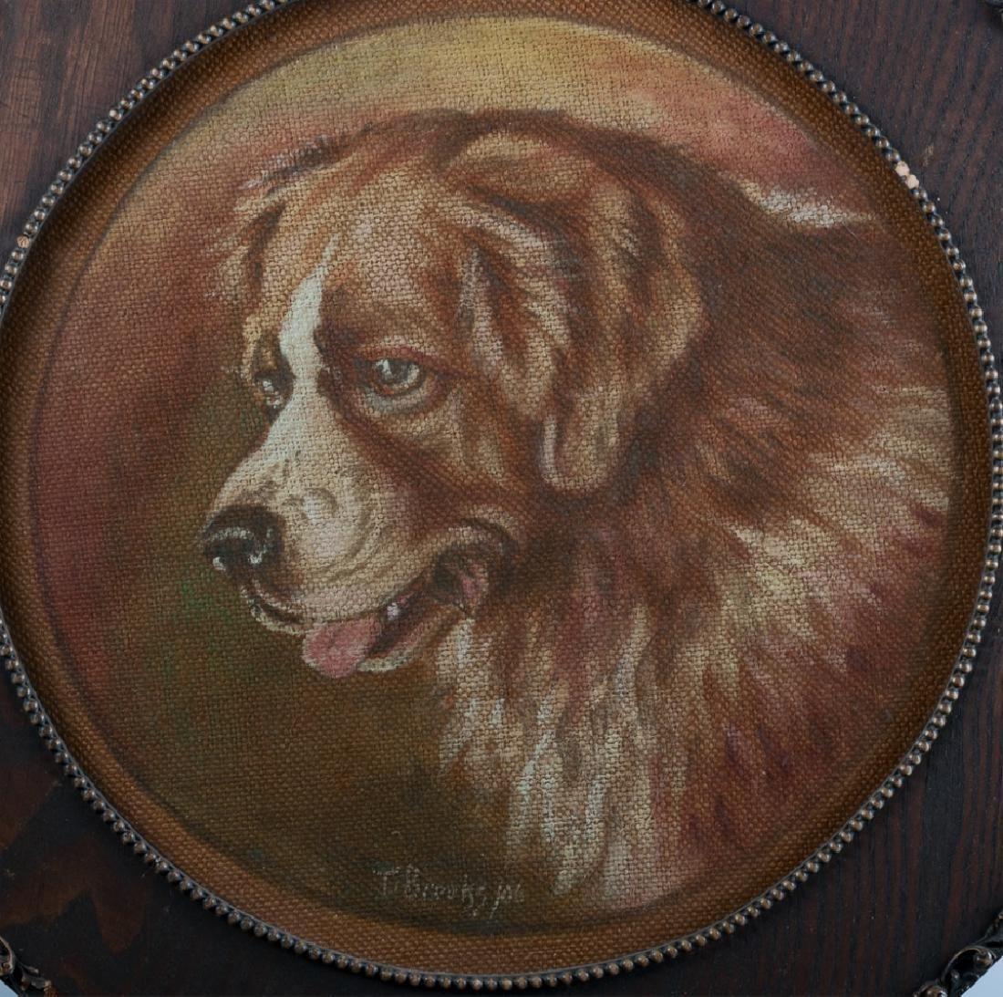 T. Brooks Oil on Burlap St. Bernard Portrait