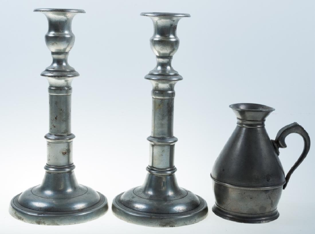 Pewter Measure & 18th C Candlesticks Pair