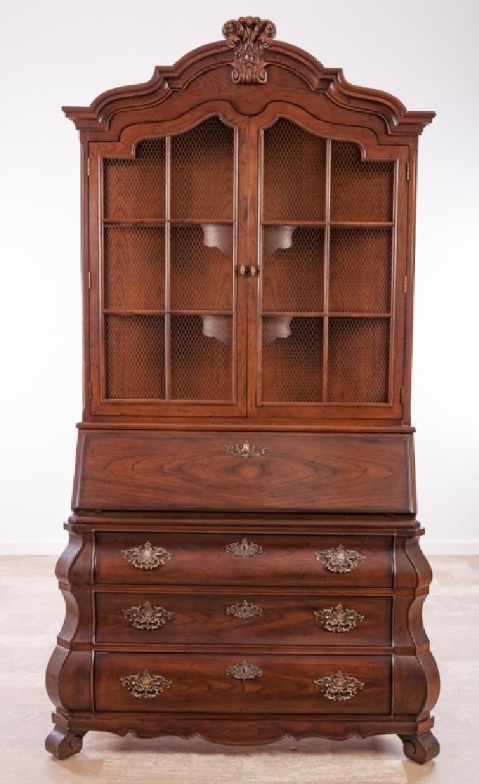 Henredon Secretary Bookcase, Bombe Form