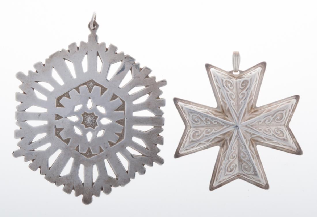 1972 & 1977 Sterling Cross and Snowflake Pendants