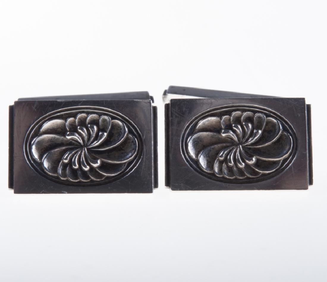 Georg Jensen Silver Floral Cufflinks