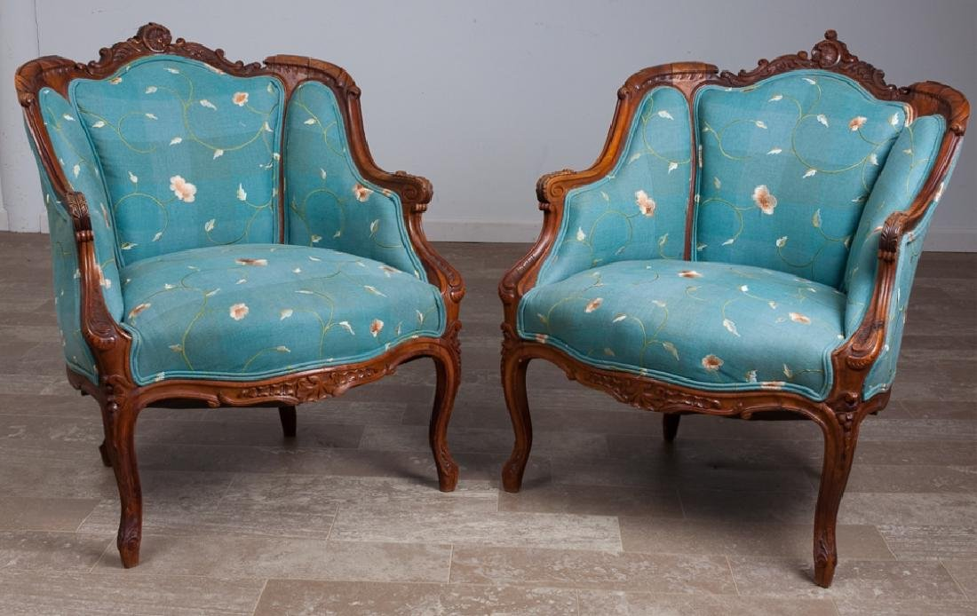 Louis XVI Style Armchairs Pair