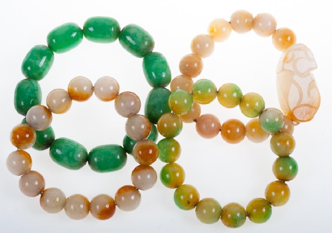 Stone Bead Bracelet Collection, Four (4) Pieces
