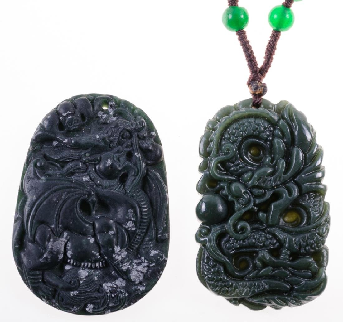 Asian Obsidian Carved Stone Pendants Duo