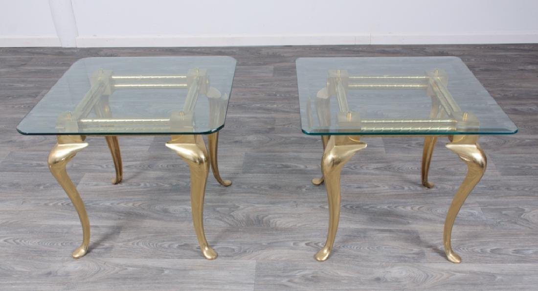 Brass & Glass Occasional Tables Pair