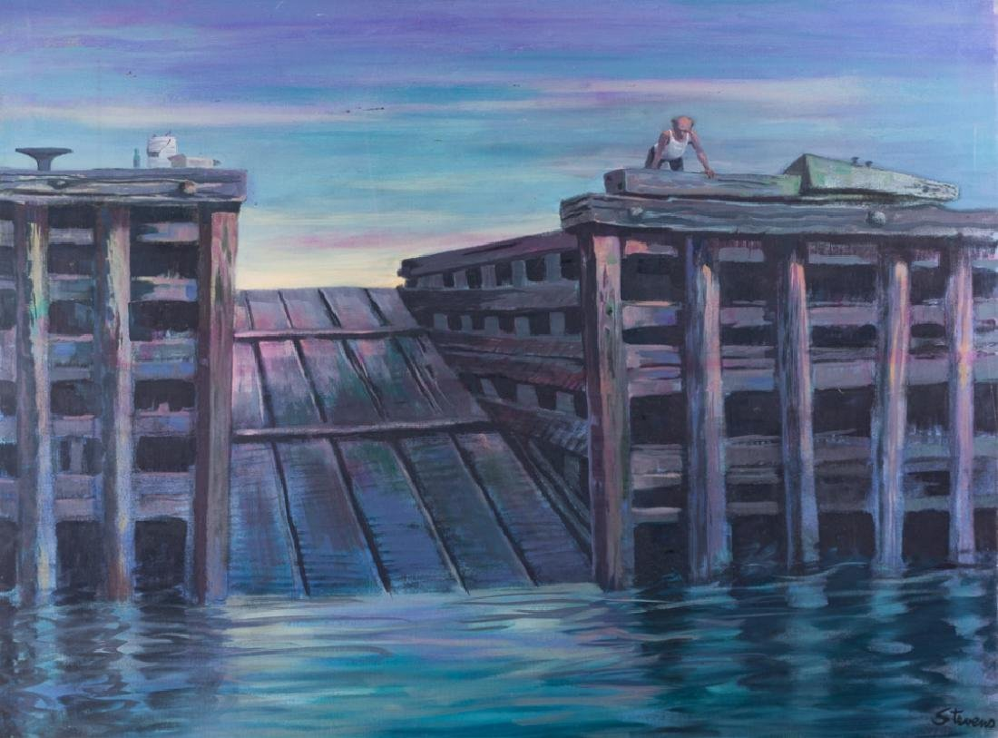 Stevens Man on Pier Oil on Canvas