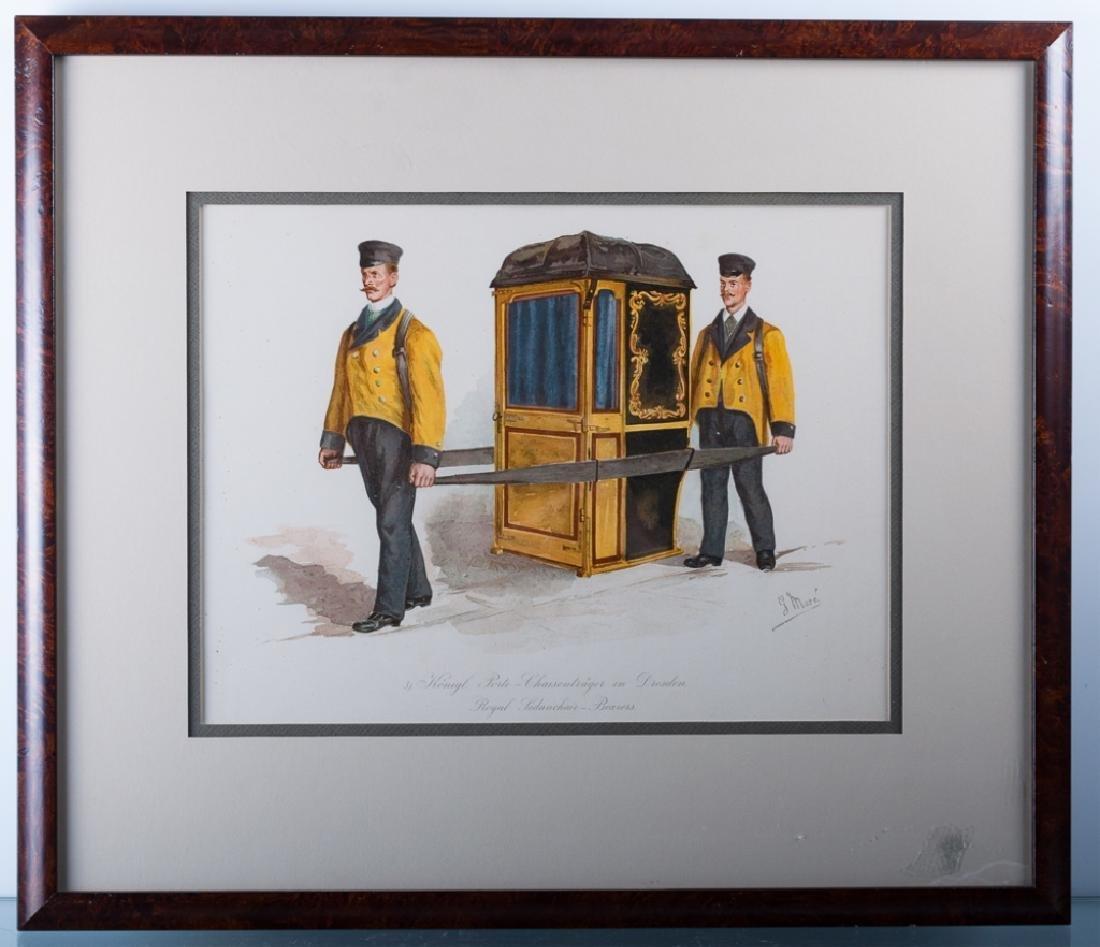 "Vintage ""Royal Sedanchair-Bearers"" Litho 1898"